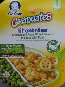 Gerbaer Graduates Lil' Entrees Chicken and Pasta Wheel Pickups in Sauce with Peas.