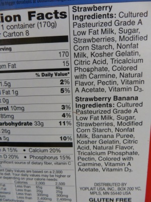 Yoplait Yogurt Ingredients that contain carmine from cochineal beetles