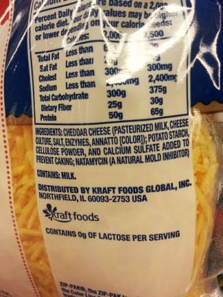 ingredients for kraft sharp natural cheese