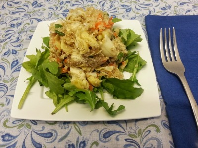qunioa and artichoke salad